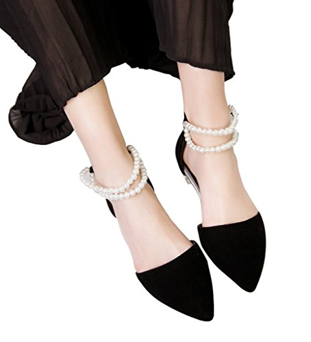 Guoar-Womens-Pointed-Toe-Flats-Pearl-Strap-Sandals-Ladies-Suede-Pumps-Shoes-For-Party-Dress-Black-US-75-0-1