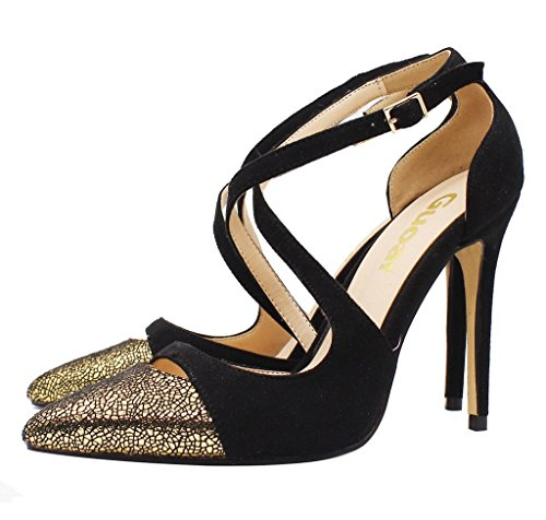 Guoar-Womens-Pointed-Toe-High-Heels-Cross-Strap-Sandals-Cut-out-Pumps-Shoe-Black-and-Gold-US-9-0-3