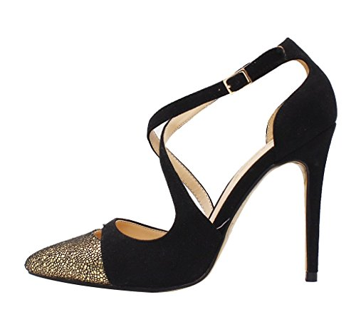 Guoar-Womens-Pointed-Toe-High-Heels-Cross-Strap-Sandals-Cut-out-Pumps-Shoe-Black-and-Gold-US-9-0