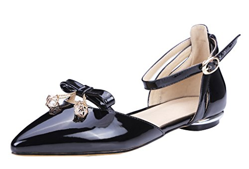 Guoar-Womens-Pointed-Toe-Patent-Flats-Ankle-Strap-Sandals-Chic-Bowknot-Pumps-Ballet-Shoes-Black-US-10-0-0