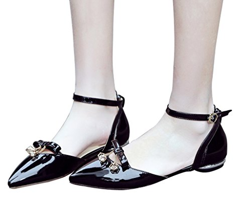 Guoar-Womens-Pointed-Toe-Patent-Flats-Ankle-Strap-Sandals-Chic-Bowknot-Pumps-Ballet-Shoes-Black-US-10-0-2