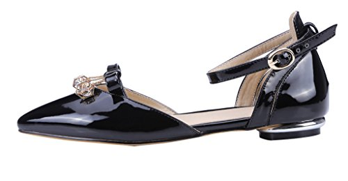 Guoar-Womens-Pointed-Toe-Patent-Flats-Ankle-Strap-Sandals-Chic-Bowknot-Pumps-Ballet-Shoes-Black-US-10-0