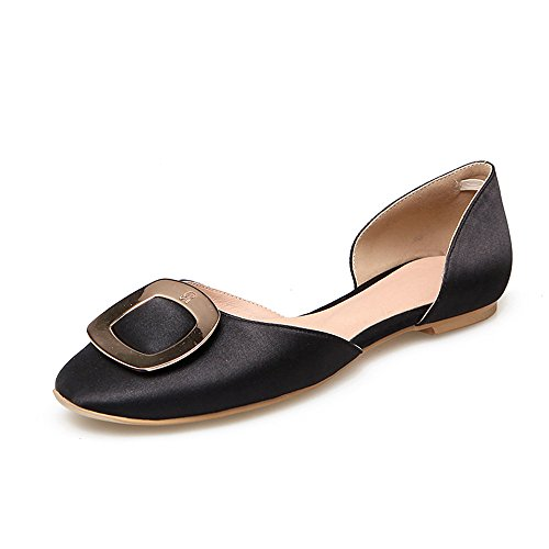 Guoar-Womens-Sandals-Shoes-Closed-Toe-Slip-on-Ladies-Square-Buckle-Flats-Pumps-for-Work-Prom-Dress-Party-Black-US14-0