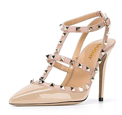 Guoar-Womens-Stiletto-Heel-Big-Size-Court-Shoes-Gladiator-Studded-Pointed-Toe-Ankle-Strap-Cut-out-Pump-Nude-US9-0-0