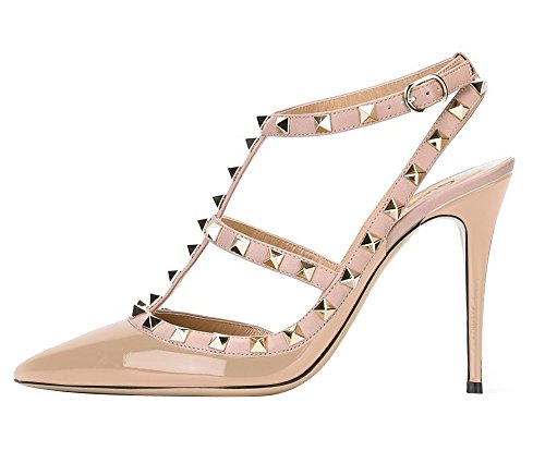 Guoar-Womens-Stiletto-Heel-Big-Size-Court-Shoes-Gladiator-Studded-Pointed-Toe-Ankle-Strap-Cut-out-Pump-Nude-US9-0