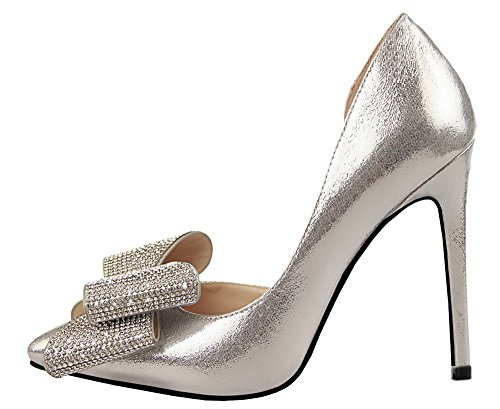 Guoar-Womens-Stiletto-Heel-Big-Size-Shoes-Pointed-Toe-DOrsayTwo-Piece-Bowtie-Pump-for-Wedding-Party-Dress-Silver-US10-0