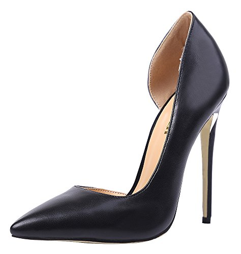 Guoar-Womens-Stiletto-Heels-Sandals-Big-Size-Shoes-Pointed-Toe-DOrsayTwo-Piece-Pumps-for-Wedding-Party-Dress-Black-US6-0-0