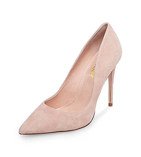 Guoar-womens-Pointed-Toe-Varus-10CM-Stiletto-high-heel-Nude-plush-pumps-Size-4-12-US-8-0