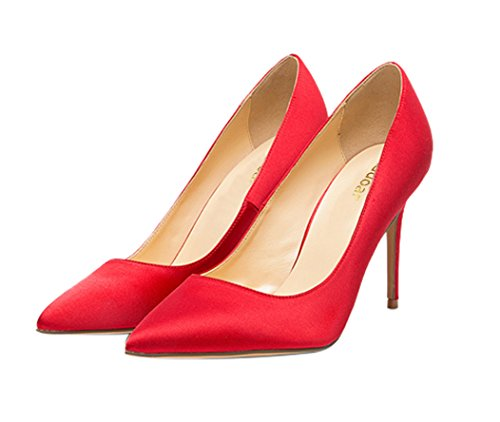 Guoar-womes-Pointed-Toe-Large-Size-Stiletto-High-Heel-Red-Silk-Special-Materials-Pumps-shoes-Size-US9-0-0