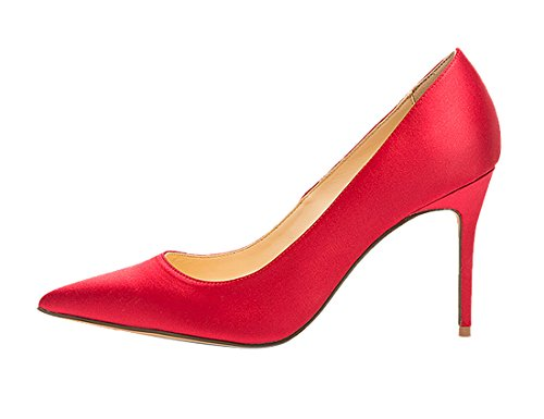 Guoar-womes-Pointed-Toe-Large-Size-Stiletto-High-Heel-Red-Silk-Special-Materials-Pumps-shoes-Size-US9-0