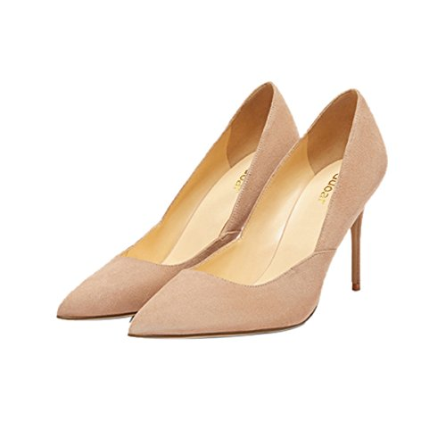 Guoar-womes-Stitching-Pointed-Toe-Stiletto-Nude-Suede-High-Heel-Pumps-Shoes-Size-US9-0-0
