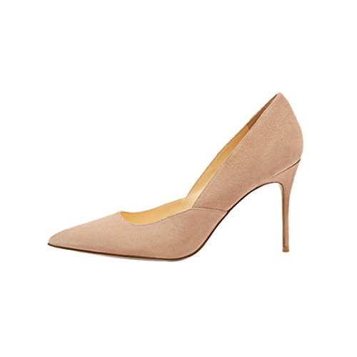 Guoar-womes-Stitching-Pointed-Toe-Stiletto-Nude-Suede-High-Heel-Pumps-Shoes-Size-US9-0