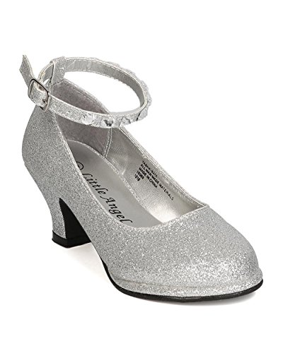 Little-Angel-GB50-Girls-Glitter-Leatherette-Rhinestone-Ankle-Strap-Kiddie-Heel-Toddler-Girl-Little-Girl-Big-Girl-Silver-Size-Big-Kid-4-0