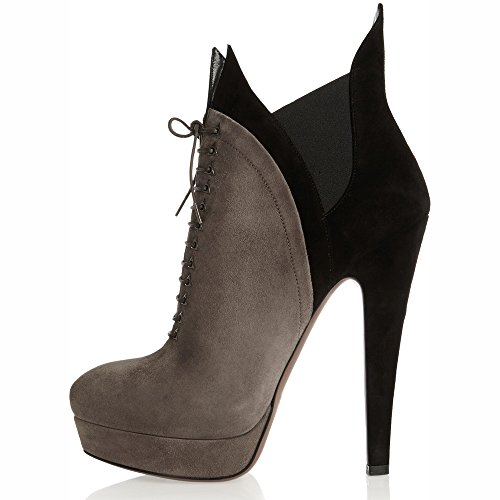 Women-Grey-Ankle-Boots-Platform-Lace-Up-Pumps-Dress-Shoes-0