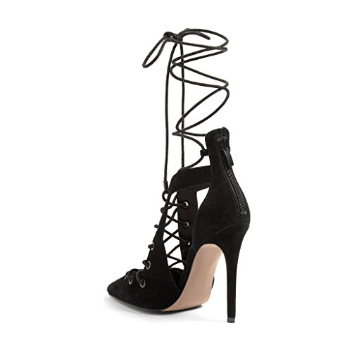 XYD-Elegent-Party-Cutout-Shoes-Suede-Pointed-Toe-Lace-Up-Heeled-Pumps-Stilettos-for-Women-Size-12-Black-0-0