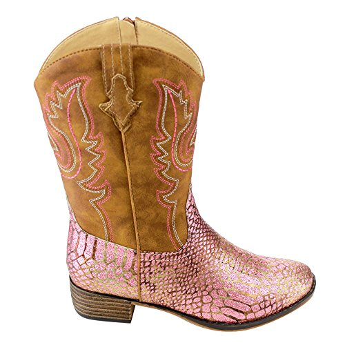 BETANI-FE24-Girls-Kids-Western-Embroidered-Mid-Calf-Cowgirl-Block-Heel-Boots-ColorPINK-Size4-M-US-Big-Kid-0-0