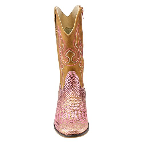 BETANI-FE24-Girls-Kids-Western-Embroidered-Mid-Calf-Cowgirl-Block-Heel-Boots-ColorPINK-Size4-M-US-Big-Kid-0-1