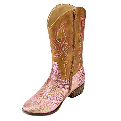 BETANI-FE24-Girls-Kids-Western-Embroidered-Mid-Calf-Cowgirl-Block-Heel-Boots-ColorPINK-Size4-M-US-Big-Kid-0-2