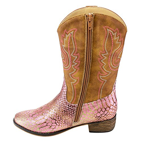 BETANI-FE24-Girls-Kids-Western-Embroidered-Mid-Calf-Cowgirl-Block-Heel-Boots-ColorPINK-Size4-M-US-Big-Kid-0-3