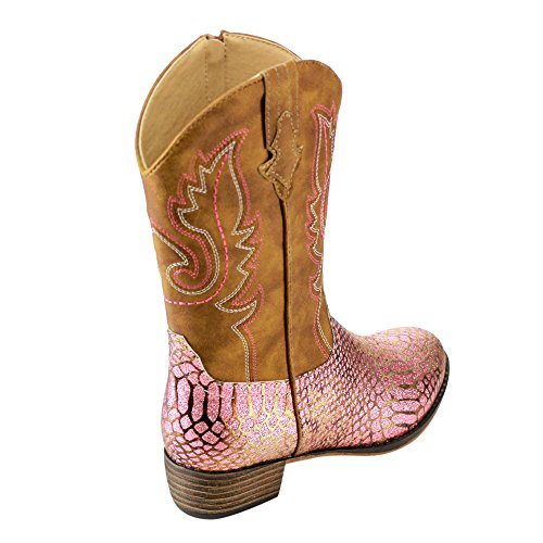 BETANI-FE24-Girls-Kids-Western-Embroidered-Mid-Calf-Cowgirl-Block-Heel-Boots-ColorPINK-Size4-M-US-Big-Kid-0-6