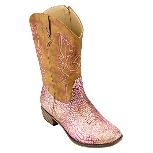 BETANI-FE24-Girls-Kids-Western-Embroidered-Mid-Calf-Cowgirl-Block-Heel-Boots-ColorPINK-Size4-M-US-Big-Kid-0
