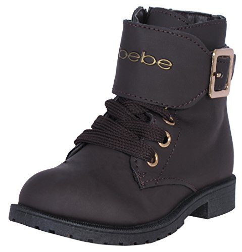 Bebe-Girls-Combat-Boots-with-Metallic-Bebe-Print-Brown-Size-4-0