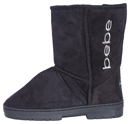 Bebe-Girls-Winter-Boots-with-Side-Bebe-Logo-BlackSilver-Size-4-0
