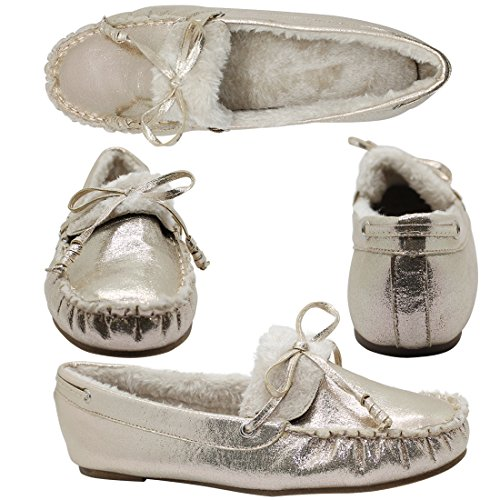 Best-Rated-Trendy-Clark-Rose-Gold-Slipper-Mockasin-Cozy-Fur-Sherpa-Lined-So-Soft-Flat-No-Heel-Cute-Moccasin-Sequin-Brumby-Comfortable-Top-House-School-Shoe-for-Xmas-Sale-Mom-Her-Mother-Size-7-Gold-0-0