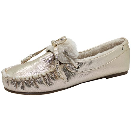 Best-Rated-Trendy-Clark-Rose-Gold-Slipper-Mockasin-Cozy-Fur-Sherpa-Lined-So-Soft-Flat-No-Heel-Cute-Moccasin-Sequin-Brumby-Comfortable-Top-House-School-Shoe-for-Xmas-Sale-Mom-Her-Mother-Size-7-Gold-0