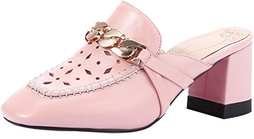 Calaier-Womens-CaUnit3-Closed-Toe-65CM-Block-Heel-Slip-on-Mule-Shoes-Pink-10-BM-US-0