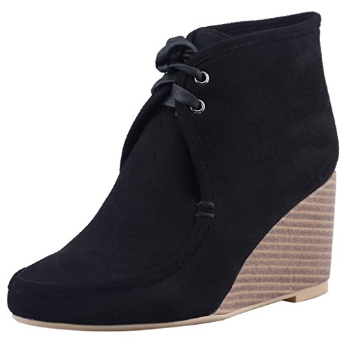 Calaier-Womens-Caanywhere-Round-Toe-85CM-Wedge-Heel-Self-Tie-Boots-Shoes-Black-15-BM-US-0