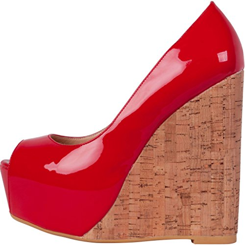 Calaier-Womens-Cabrush-Luxury-Ladies-Designer-Bridal-Dress-Platform-Large-Size-Shoes-Peep-Toe-15CM-Wedge-Heel-Slip-on-Sandals-Red-15-BM-US-0-0