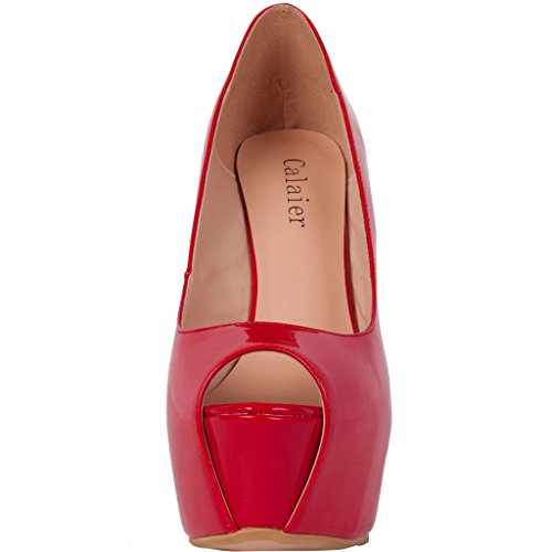 Calaier-Womens-Cabrush-Luxury-Ladies-Designer-Bridal-Dress-Platform-Large-Size-Shoes-Peep-Toe-15CM-Wedge-Heel-Slip-on-Sandals-Red-15-BM-US-0-3