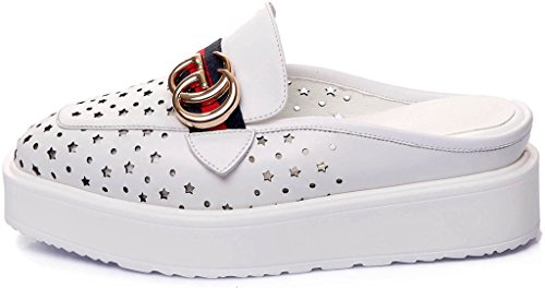 Calaier-Womens-Cacompetition-Closed-Toe-25CM-Flat-Slip-on-Mule-Shoes-White-65-BM-US-0-0