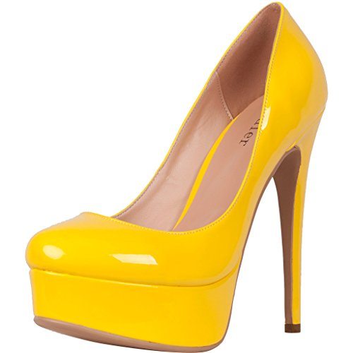 Calaier-Womens-Cadress-Sexy-Fashion-Ladies-Wedding-Party-Dresses-Comfortable-Platform-Super-High-Heel-Stiletto-Shoes-Round-Toe-15CM-Stiletto-Slip-on-Pumps-Yellow-12-BM-US-0