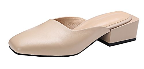 Calaier-Womens-Caever-Closed-Toe-4CM-Block-Heel-Slip-on-Mule-Shoes-Beige-65-BM-US-0
