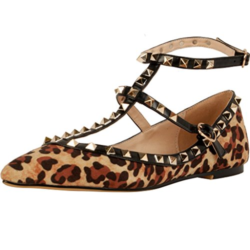 Calaier-Womens-Caforty-Elegant-Girls-Designer-Luxury-Fashion-Leopard-Print-T-Strap-Rivet-Studded-Ankle-Strap-Pointed-Toe-05CM-Flat-Buckle-Flats-Multicoloured-95-BM-US-0