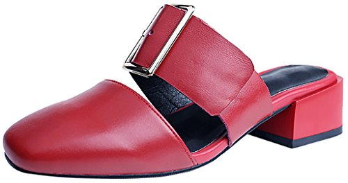 Calaier-Womens-Cafresh-Closed-Toe-4CM-Block-Heel-Slip-on-Mule-Shoes-Red-8-BM-US-0