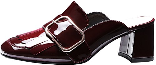 Calaier-Womens-Camaybe-Closed-Toe-6CM-Block-Heel-Slip-on-Mule-Shoes-Red-85-BM-US-0