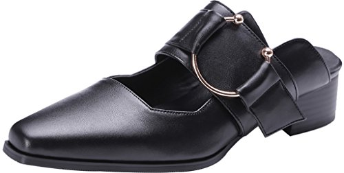 Calaier-Womens-Camirror-Closed-Toe-3CM-Block-Heel-Slip-on-Mule-Shoes-Black-75-BM-US-0