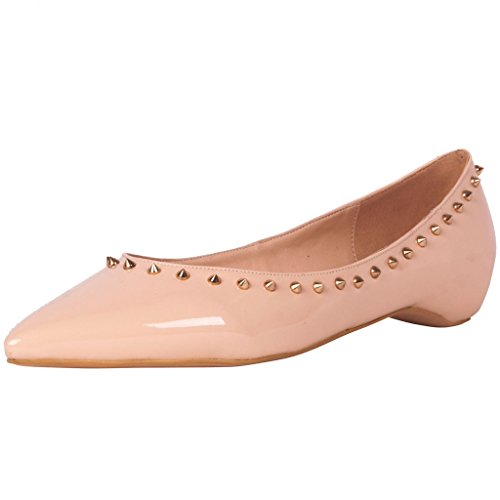 Calaier-Womens-Camusician-Autumn-Ladies-Luxury-Designer-Casual-Party-Wedding-Dress-Rivet-Studded-Shoes-Loafers-Pointed-Toe-05CM-Flat-Slip-on-Flats-Pink-115-BM-US-0