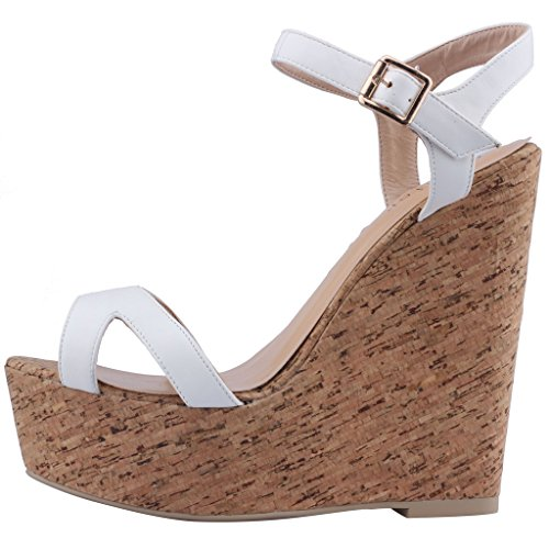 Calaier-Womens-Canothing-Open-Toe-165CM-Wedge-Heel-Buckle-Sandals-Shoes-White-4-BM-US-0-0