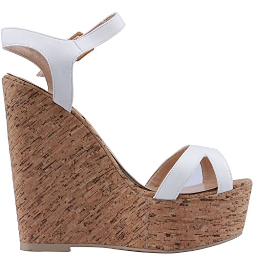 Calaier-Womens-Canothing-Open-Toe-165CM-Wedge-Heel-Buckle-Sandals-Shoes-White-4-BM-US-0-2