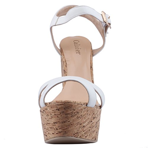 Calaier-Womens-Canothing-Open-Toe-165CM-Wedge-Heel-Buckle-Sandals-Shoes-White-4-BM-US-0-3