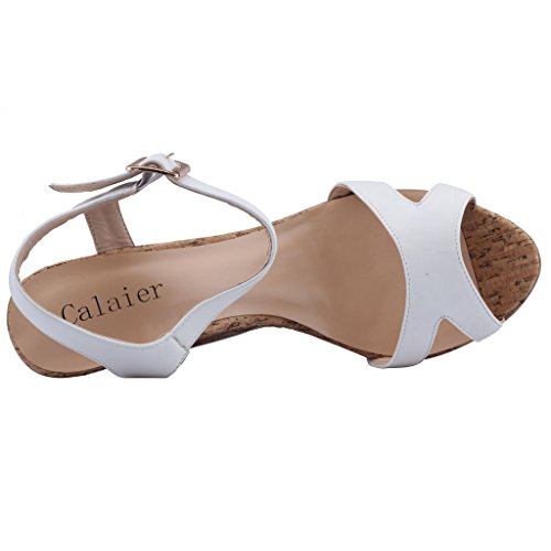 Calaier-Womens-Canothing-Open-Toe-165CM-Wedge-Heel-Buckle-Sandals-Shoes-White-4-BM-US-0-4