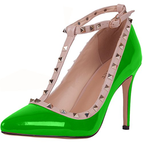 Calaier-Womens-Caof-Pointed-Toe-85CM-Stiletto-Slip-on-Pumps-Shoes-Green-7-BM-US-0