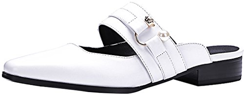 Calaier-Womens-Cascreen-Closed-Toe-25CM-Block-Heel-Slip-on-Mule-Shoes-White-75-BM-US-0