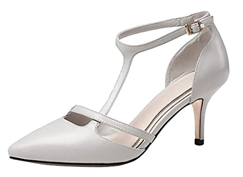 Calaier-Womens-Caseem-Pointed-Toe-6CM-Stiletto-Buckle-Pumps-Shoes-off-white-10-BM-US-0