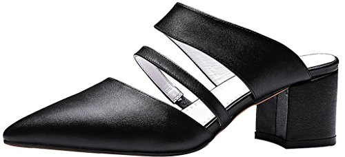 Calaier-Womens-Caserious-Pointed-Toe-55CM-Block-Heel-Slip-on-Mule-Shoes-Black-8-BM-US-0