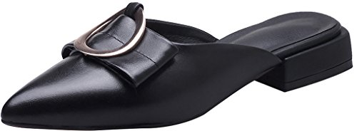 Calaier-Womens-Caservice-Pointed-Toe-2CM-Block-Heel-Slip-on-Mule-Shoes-Black-65-BM-US-0